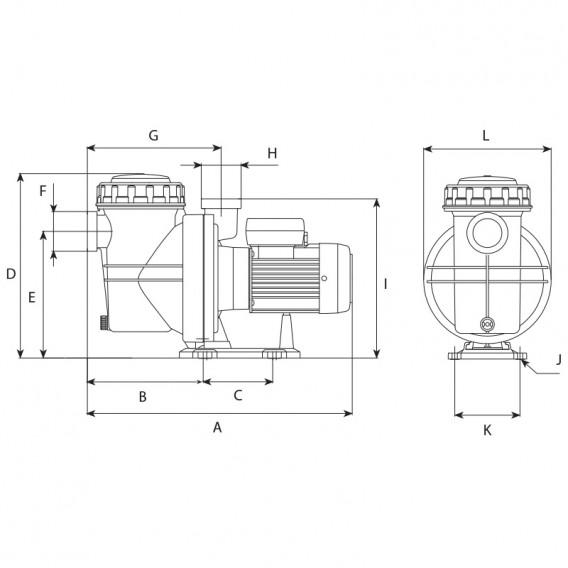 Dimensiones bomba ESPA NOX 33 8M - NOX 50 12M - NOX 100 15M