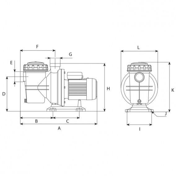 Dimensiones bomba ESPA NOX 75 15M - NOX 100 18M - NOX 150 22M