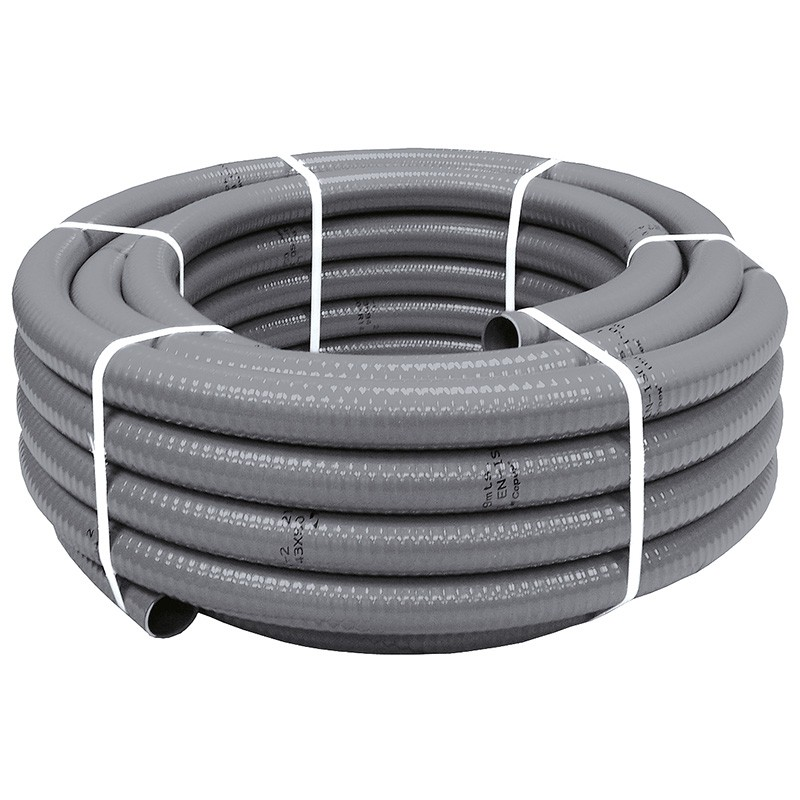 Tuber a pvc flexible hidrotubo gris poolaria for Tubo de pvc flexible