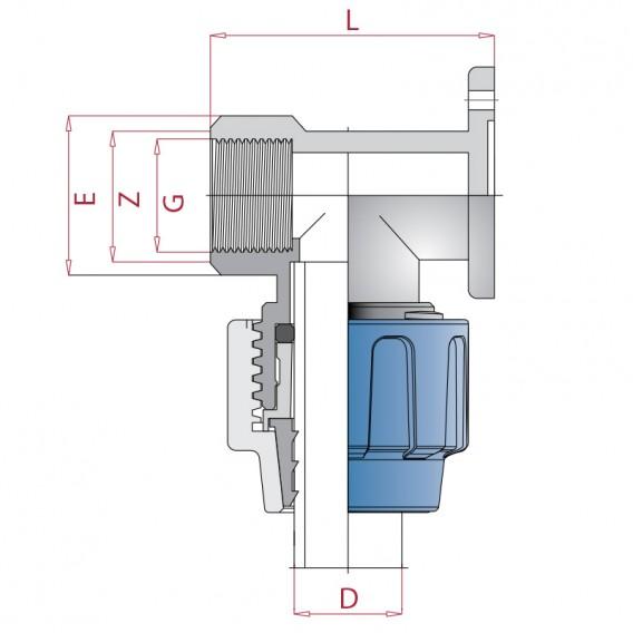 Dimensiones codo grifo polietileno rosca hembra