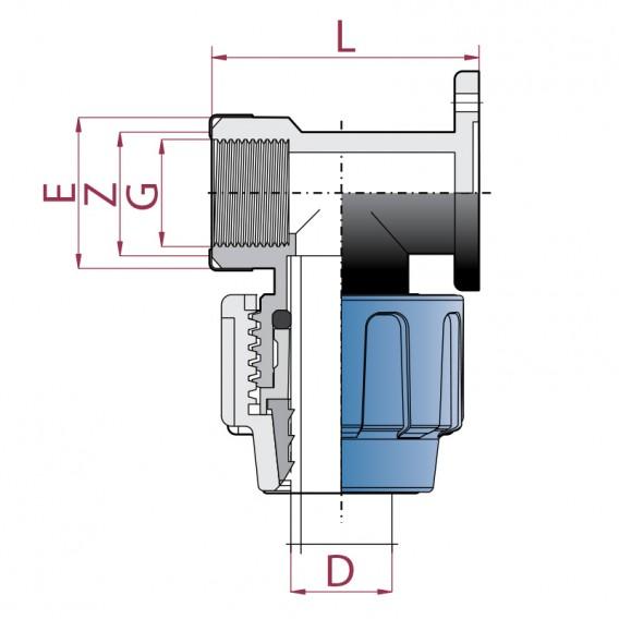 Dimensiones codo grifo reforzado polietileno rosca hembra