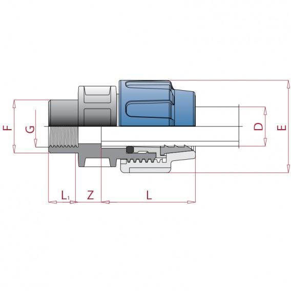 Dimensiones enlace mixto polietileno rosca hembra