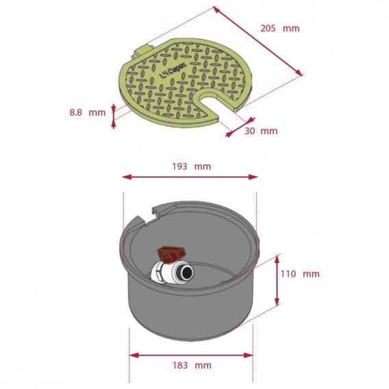 Dimensiones arqueta circular con válvula