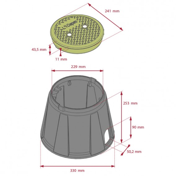 "Dimensiones arqueta circular 9"""