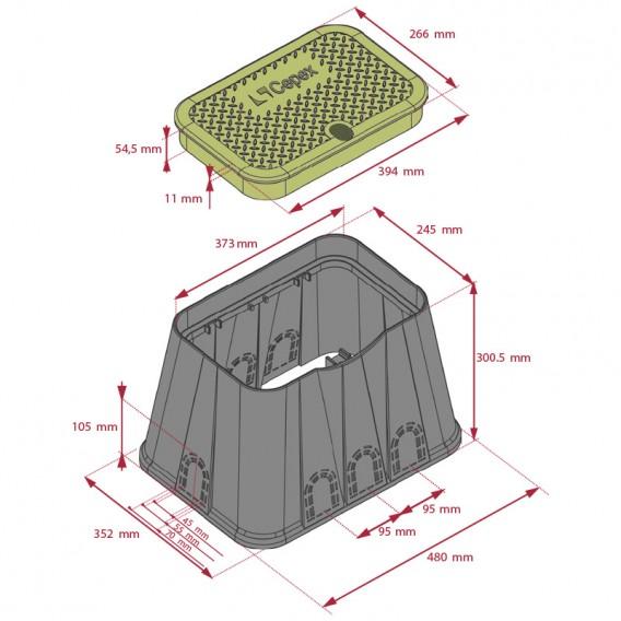 Dimensiones arqueta rectangular Standard Cepex