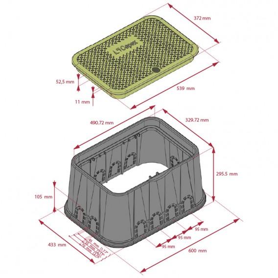 Dimensiones arqueta rectangular Jumbo Cepex