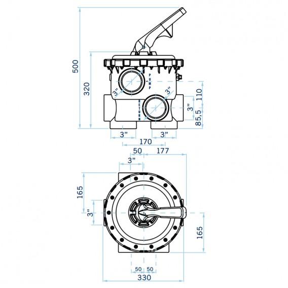 "Dimensiones válvula selectora Magnum Lateral 3"""