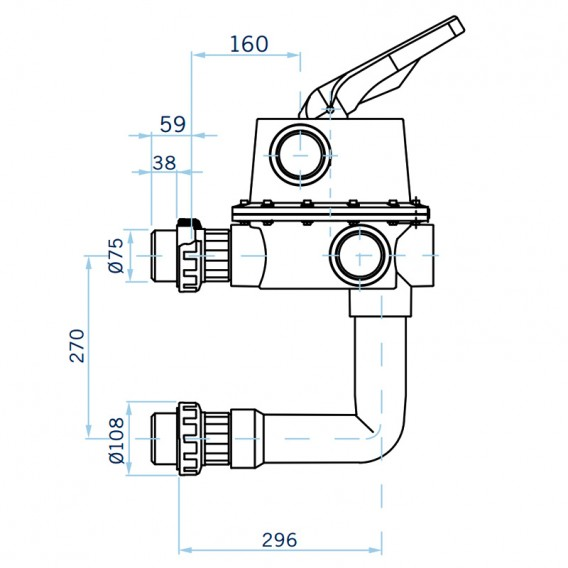 Dimensiones válvula selectora Magnum Lateral 2½'' 24837
