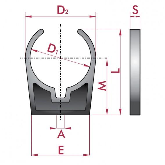 Dimensiones pinza abierta abrazadera para tubo