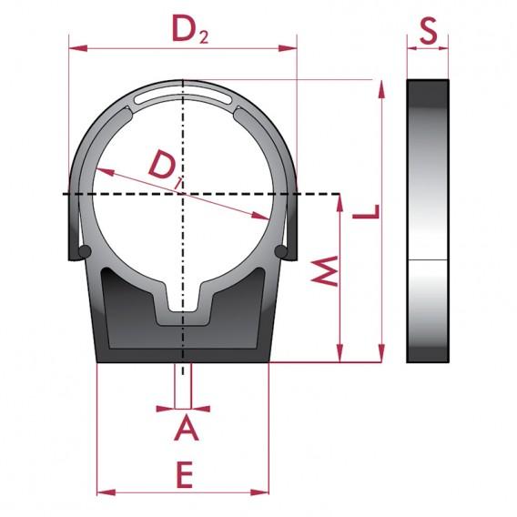 Dimensiones pinza con cierre abrazadera para tubo