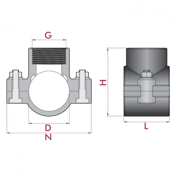 Dimensiones collarín de toma para tuberías PVC y PE