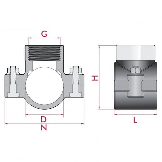 Dimensiones collarín de toma reforzado para tuberías PVC y PE