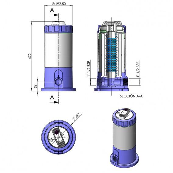 Dimensiones filtro de cartucho cilíndrico 5000 l/h AstralPool