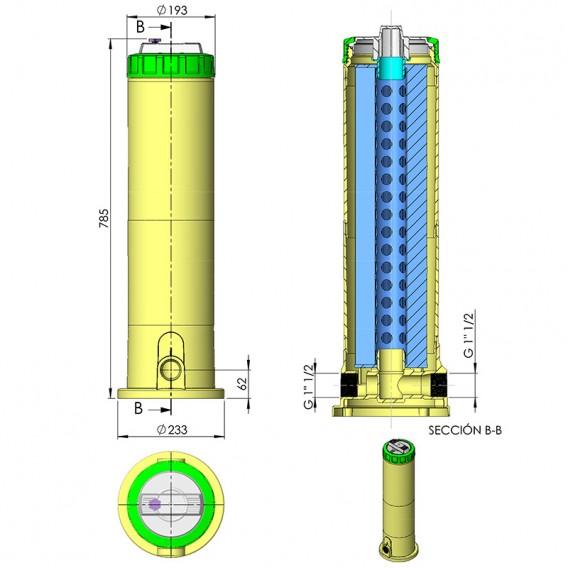 Dimensiones filtro de cartucho cilíndrico doble 10000 l/h AstralPool