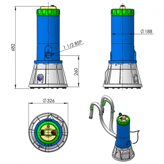 Dimensiones filtro de cartucho cilíndrico con bomba AstralPool