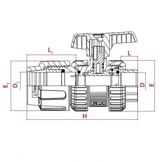 Dimensiones válvula de bola [STD] PVC-U PE x encolar