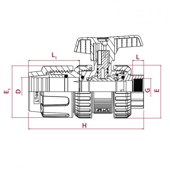 Dimensiones válvula de bola [STD] PVC-U PE x roscar