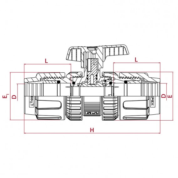 Dimensiones válvula de bola [STD] PVC-U PE x PE