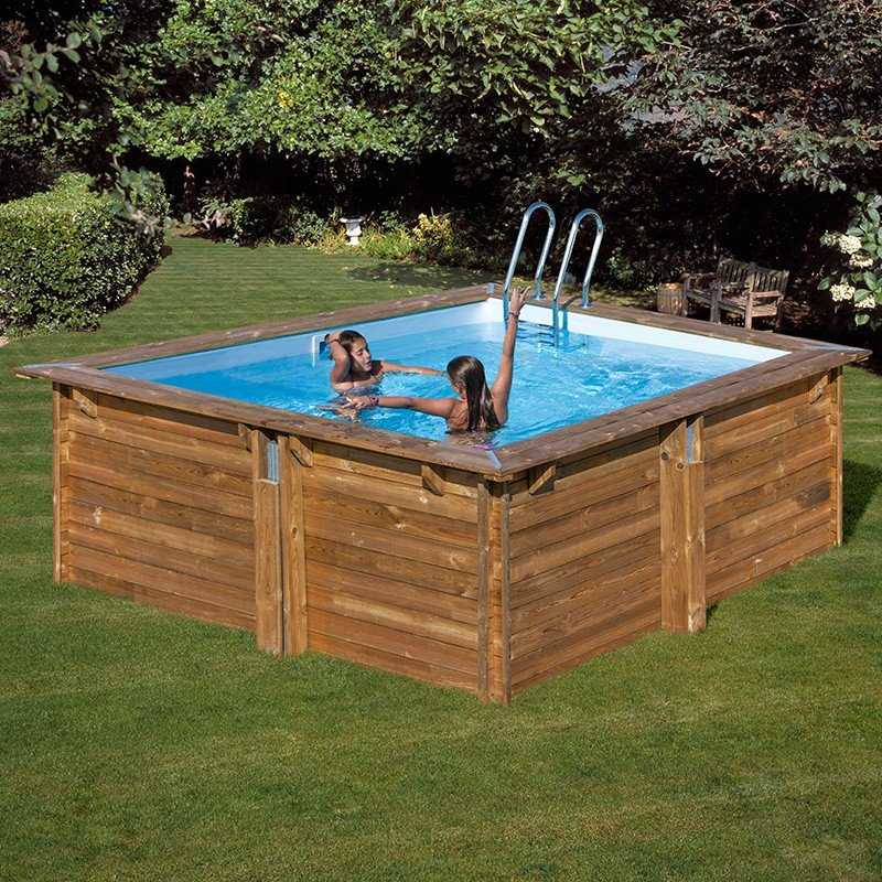Piscina de madera gre carra cuadrada 300x300x119 790093 for Piscines demontables
