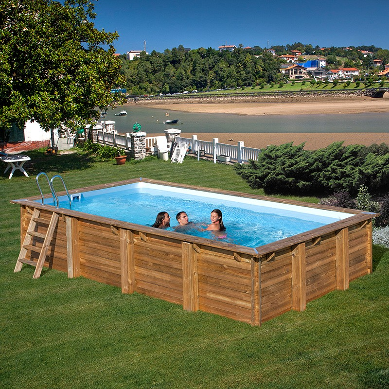 Piscina de madera gre sunbay evora rectangular 600x400x133 - Piscina madera rectangular ...