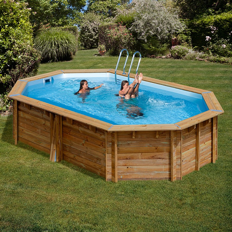 Piscina de madera gre sunbay cannelle ovalada 551x351x119 - Madera para piscinas ...