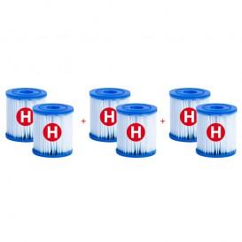 Pack 6 cartuchos Intex tipo H para depuradora piscina 29007