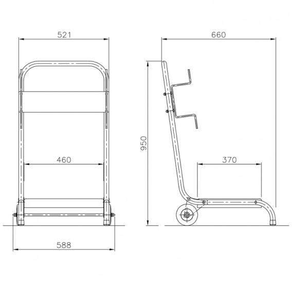 Dimensiones carro portabombas para limpiafondos autónomos