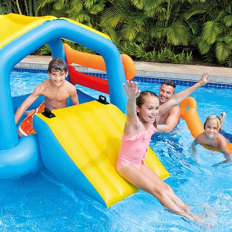 Isla flotante hinchable con tobog n intex piscina 58294eu - Piscina infantil con tobogan ...