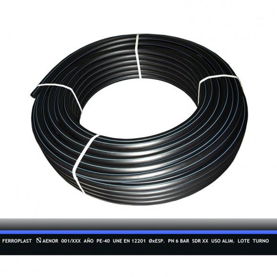 Tubería PE-40 agua potable PN6 rollo D20-D90