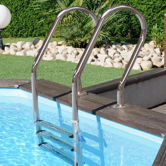 Escalera inox para piscina de madera Gre 126673