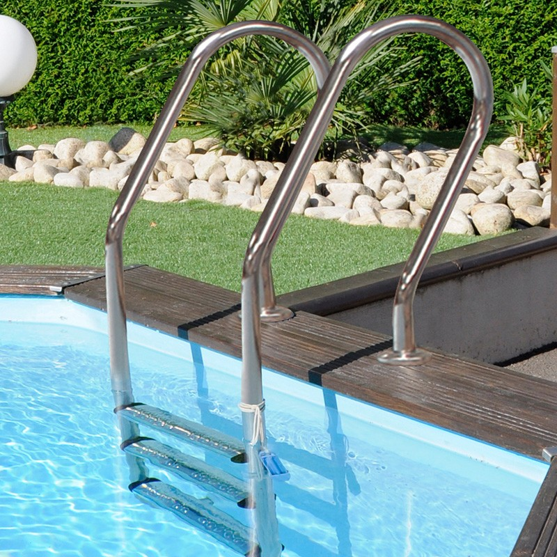 Escalera inox para piscina de madera gre 126673 poolaria for Escalera piscina