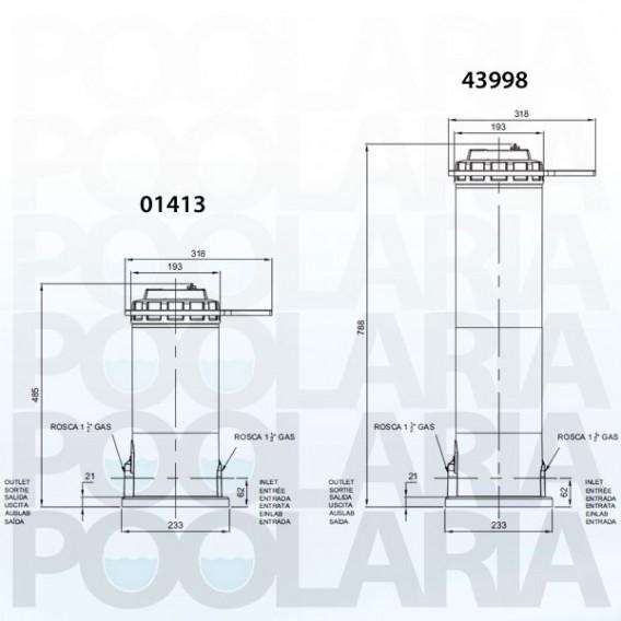 Dimensiones dosificador cloro/bromo Dossi-5 y Dossi-10
