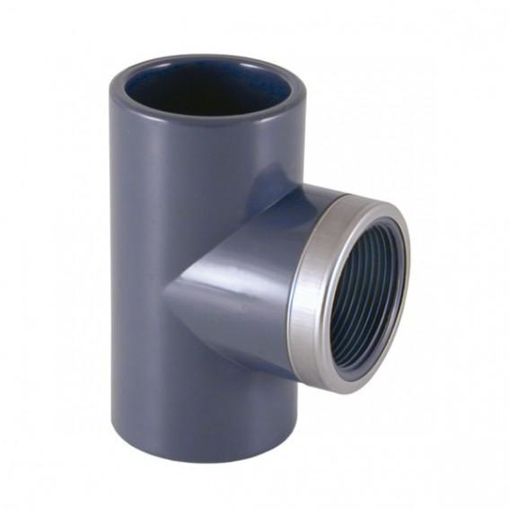 Te mixta reforzada 90º PVC encolar y roscar