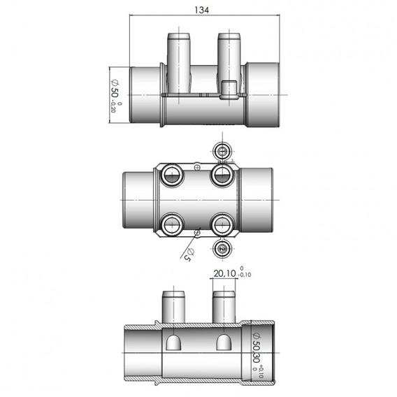 Dimensiones colector de agua spa 4 salidas