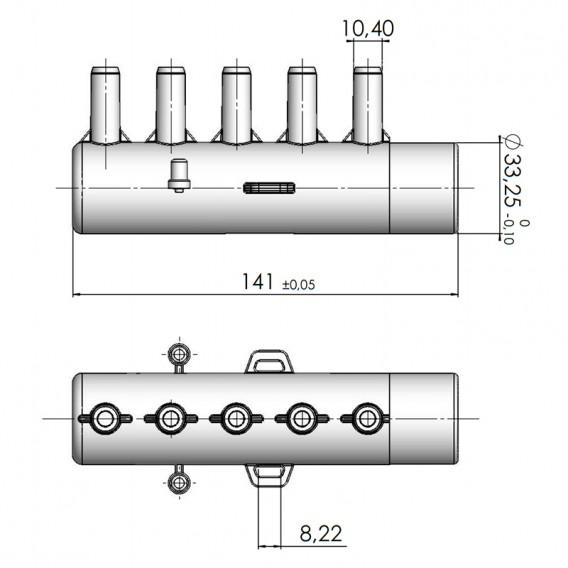 Dimensiones distribuidor de aire spa 5 salidas