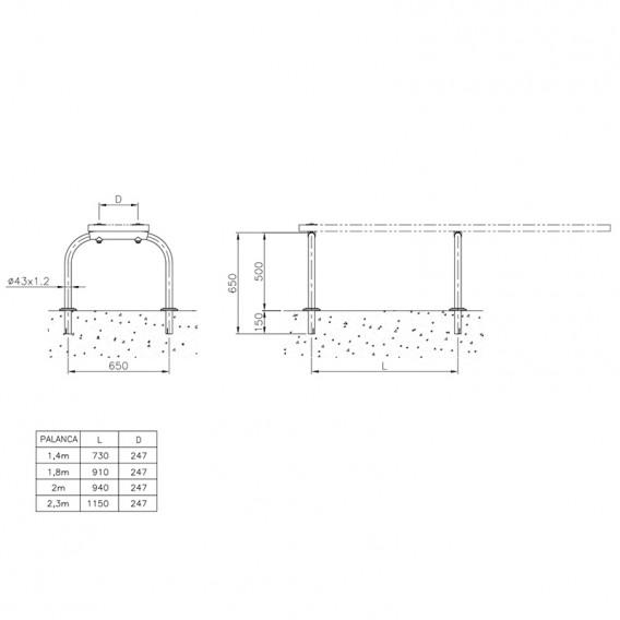 Dimensiones soporte para plataforma AstralPool