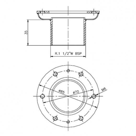 Dimensiones convertidor pasamuros piscina liner AstralPool
