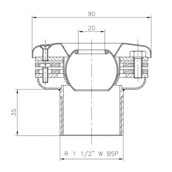 Dimensiones boquilla impulsión pasamuros piscina liner AstralPool
