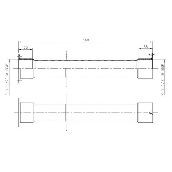 Dimensiones pasamuros acero inoxidable 340 mm piscina hormigón AstralPool
