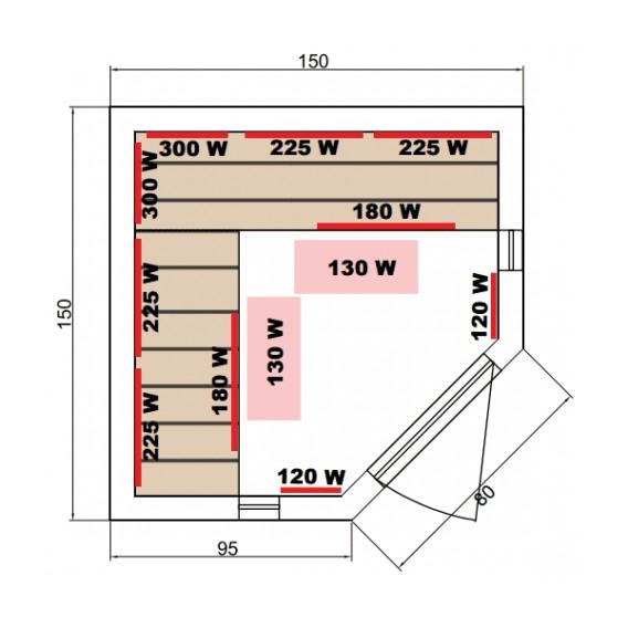 Dimensiones sauna infrarrojos Luxe rinconera 3-4 personas