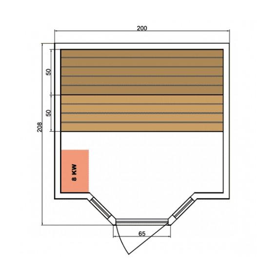 Dimensiones sauna Zen 5 personas