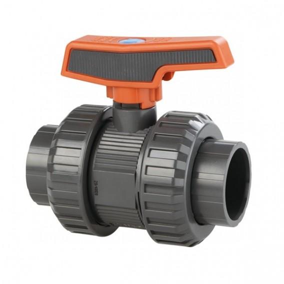 Válvula de bola [STD] PVC-U Teflón®-EPDM alimentario encolar