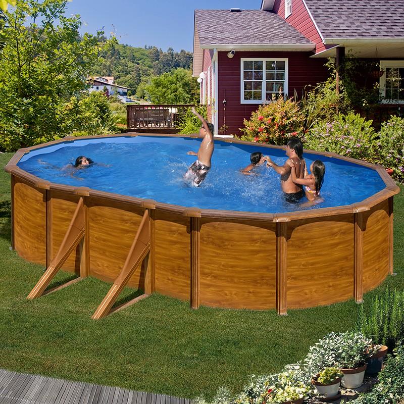piscina desmontable gre sicilia ovalada imitaci n madera