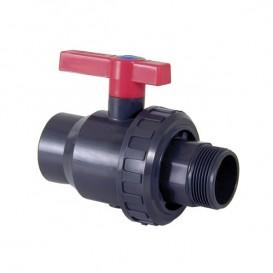 Válvula de bola Uniblock PVC PE-EPDM roscar y roscar macho