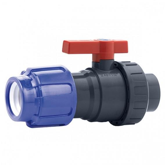 Válvula de bola Uniblock PVC PE-EPDM conexión PE y roscar