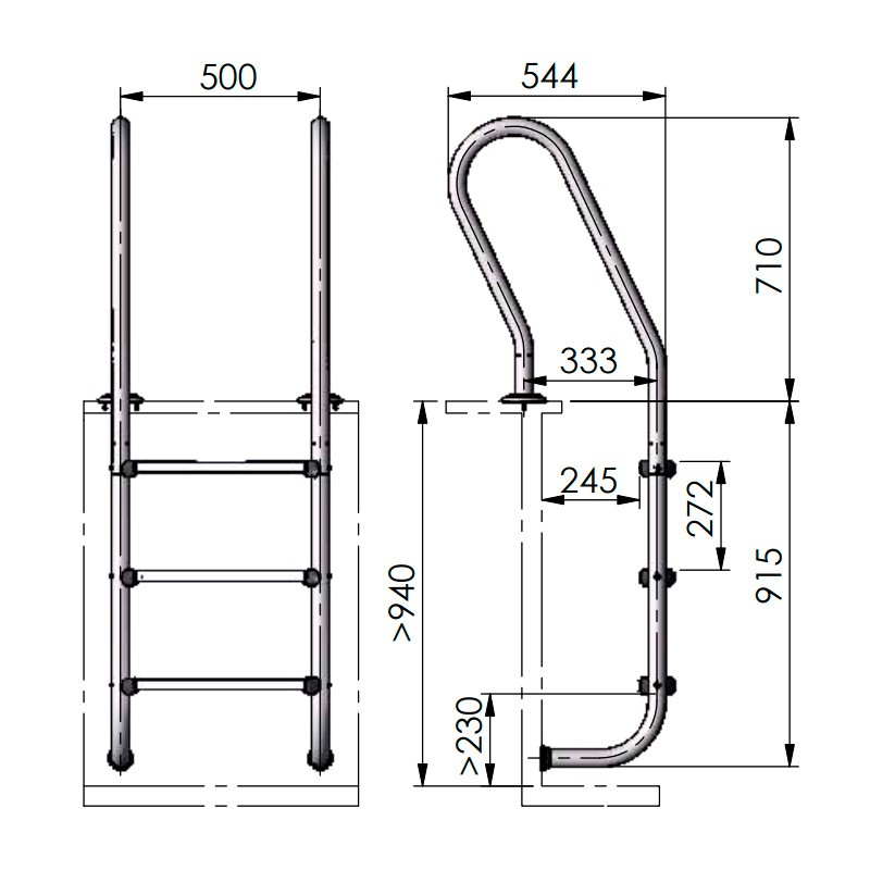 Escalera inox para piscina de madera gre 126673 poolaria for Escalera piscina bricodepot