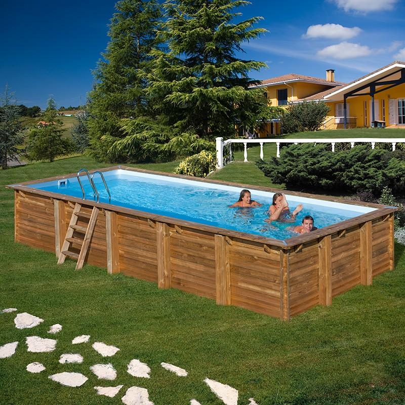 Piscina de madera gre sunbay braga rectangular 800x400x146 - Piscinas desmontables de madera ...