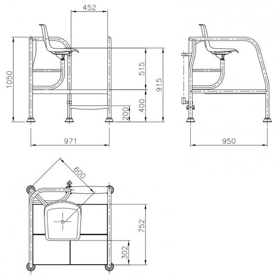 Dimensiones silla socorrista H-400 AstralPool