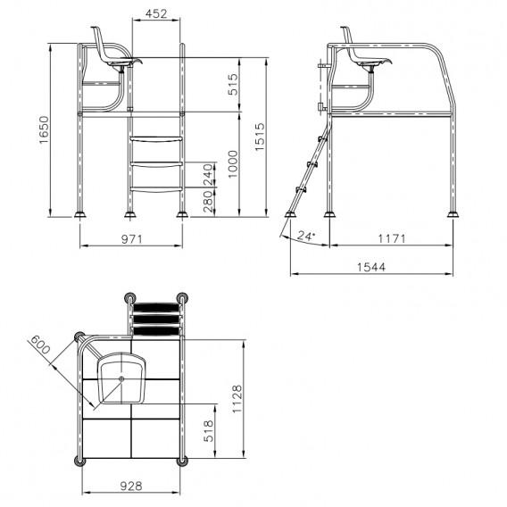 Dimensiones silla socorrista H-1000 AstralPool