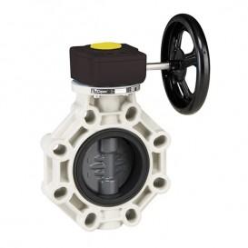 Válvula de mariposa Serie Industrial PVC eje inox FPM con reductor
